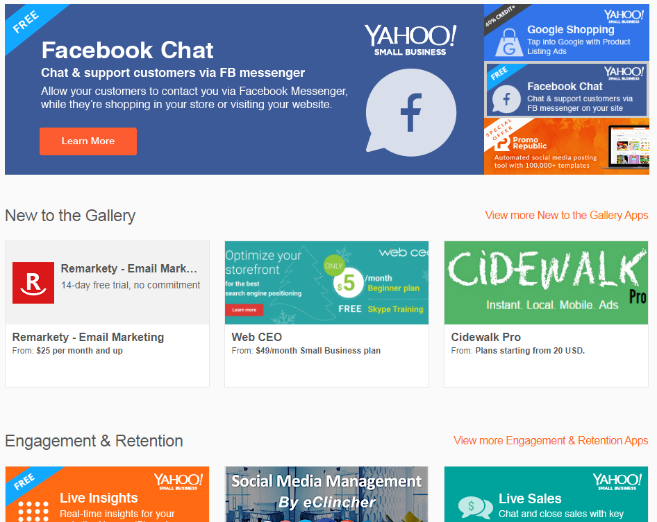 Yahoo small business review for Yahoo ecommerce templates
